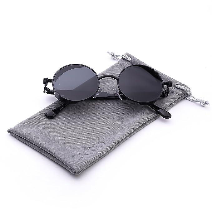 86099bd1dc Cvoo New Brand Mirror Lens Round Glasses Goggles Steam Punk Sunglasses  Vintage Retro For Men And Women Eyewear  Amazon.it  Abbigliamento
