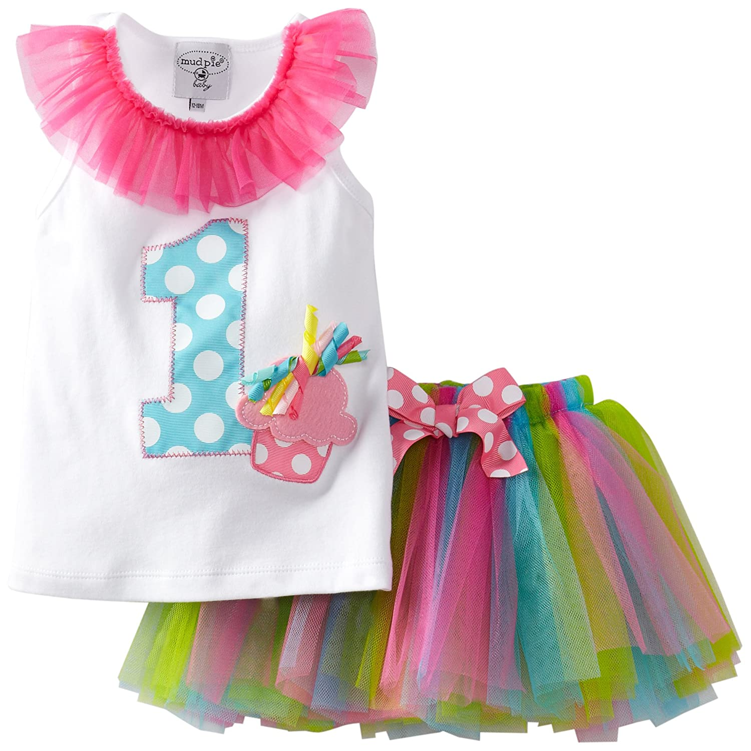 Amazon.com: Mud Pie Baby Girl\'s Birthday Tutu, Multi, 12 18 Months ...