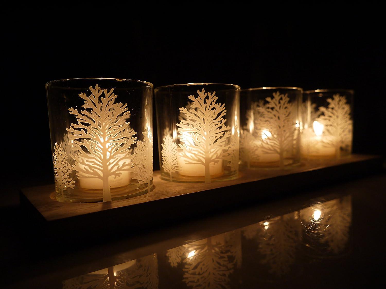 khevga vassoio con lumini bianco Natale