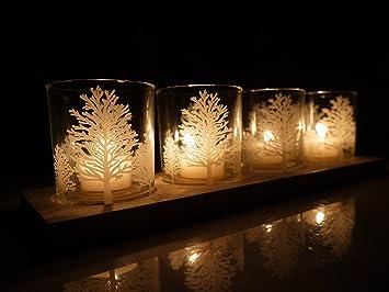 Khevga Windlicht Tablett Weisse Weihnachten Amazon De Kuche