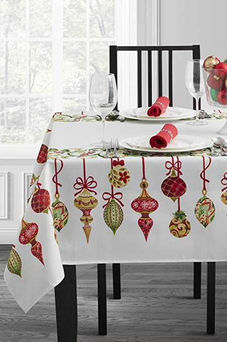 "Benson Mills Christmas Village Fabric Printed Tablecloth (60"" X 104"" Rectangular, Holiday Trimming) best Christmas tablecloths"