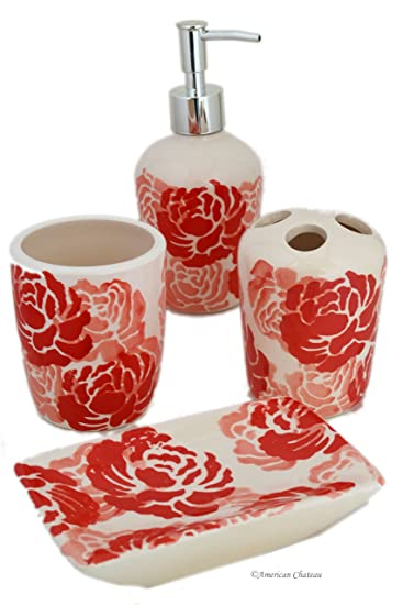 Set 4 Piece Red/Coral/White Floral Ceramic Bathroom Accessories