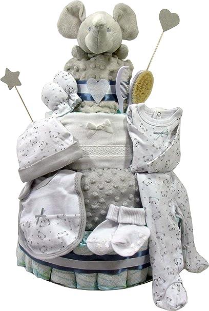Tarta de pañales Dodot unisex. Modelo Supertarta primera puesta Elefante. Regalo para recién nacido