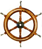 Nautical Premium Sailor's Hand Crafted Brass & Wooden Ship Wheel   Luxury Gift Decor   Boat Collectibles   Nagina International (24 Inches, Brass Ring & Handles)