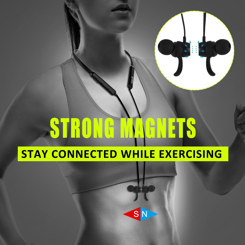 Auricolare Bluetooth sport con archetto in-ear wireless, w/microfono magnetico stereo Resistente al sudore per palestra, corsa, allenamento 8 ore