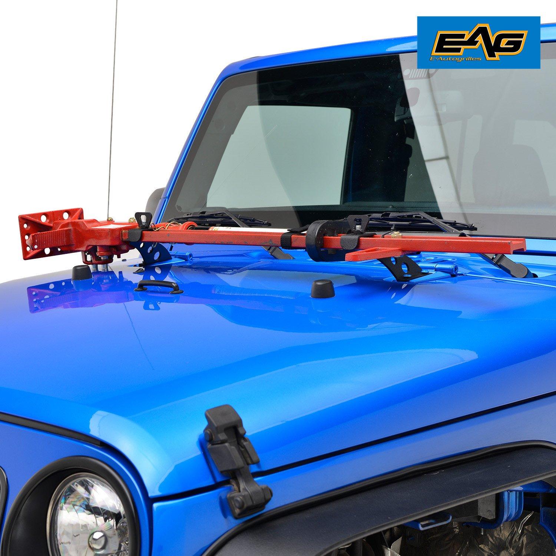 EAG 2007-2018 Jeep Wrangler JK Hi Lift Jack Mount Hood Hinge Bracket by EAG (Image #1)