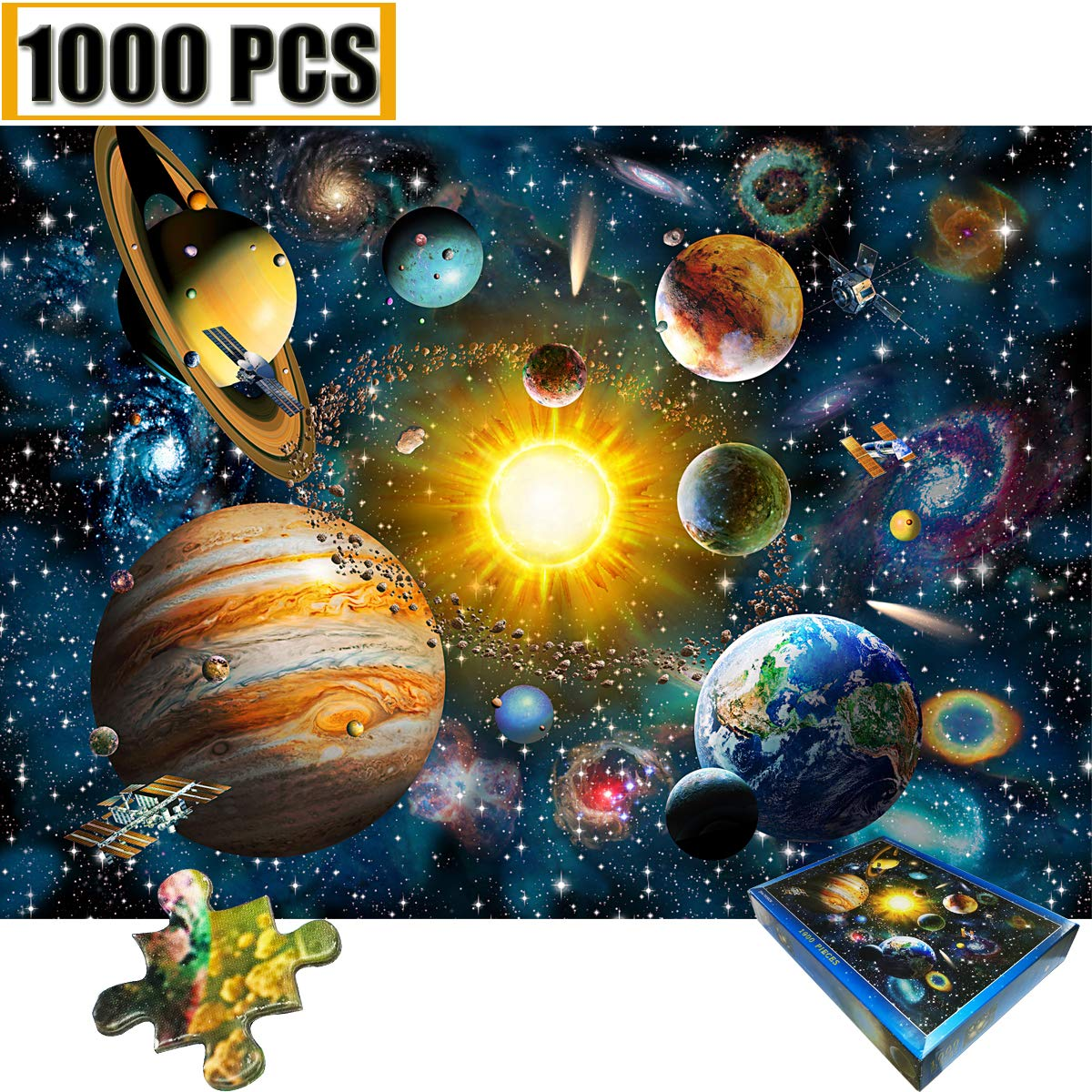 Jigsaw Puzzles 1000 Pieces Space Universe Planet Jigsaw Puzzle 1000 PCS Jigsaw Puzzles Spacecraft Galaxy Stars Artwork Art Teen Adult Children Large Size Toy Educational Games Solar System