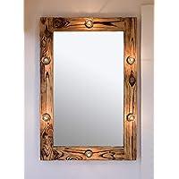 Bodrum Wooden Aydınlatmalı Doğal Ağaç Makyaj Aynası