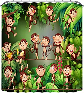 LB Funny Animal Monkey Shower Curtain Tropical Jungle Forest Wildlife Banana Trees Shower Curtain Set for Bathroom Durable Waterproof Fabric Curtain with Hooks,70x70 Inch