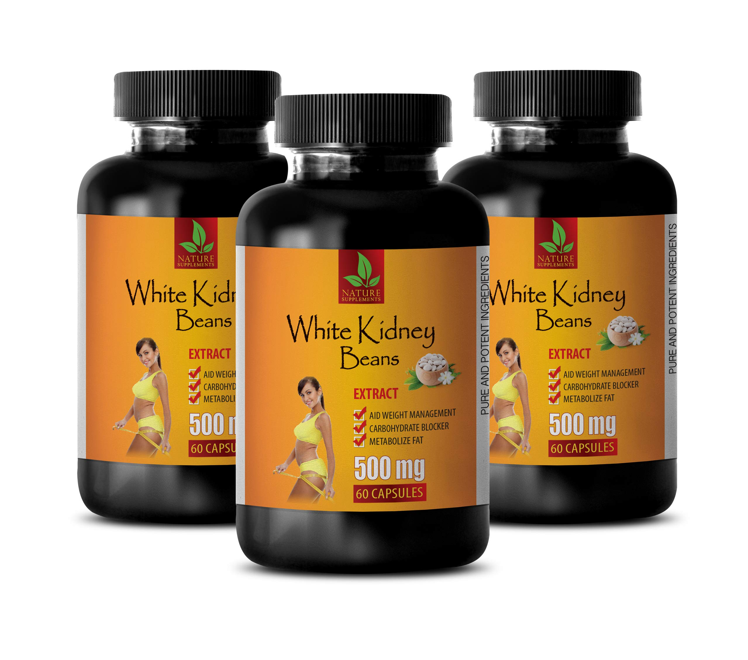 carb blockers Weight Loss and Fat Blocker - White Kidney Beans Extract 500MG - Pure and Potent Ingredients - Weight Loss Natural Pills - 3 Bottles (180 Capsules)