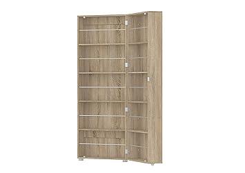 Tvilum 71009akak Bright Mirrored Shoe Cabinet, Oak Structure