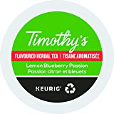Timothy's Lemon Blueberry Passion Tea Single Serve Keurig Certified Recyclable K-Cup pods for Keurig brewers, 48 Count (Pack