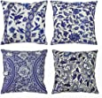 """Blue and White Porcelain Throw Pillow Cover Cushion Covers Traditional Chinese Calligraphy Culture Pillowcases Decorative Square Pillow Case for Home Bedroom Living Room 18""""×18"""" 4Pack"""