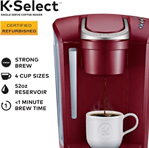 Keurig K-Select Certified Refurbished Coffee Maker, Single Serve K-Cup Pod Coffee Brewer, With Strength Control and Hot Water On Demand, Vintage Red