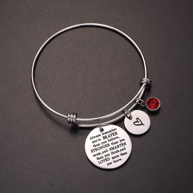 Dec.bells Jewellery Cuff Bracelet Inspirational Jewelry Gift Braver Believe Stronger Smarter for Women