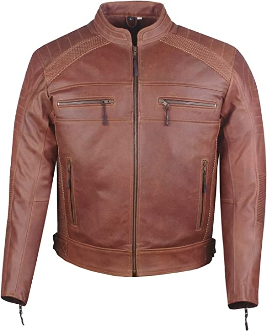 Mens Airflow Perforated Leather Protected Motorcycle CE Armor Biker Jacket L