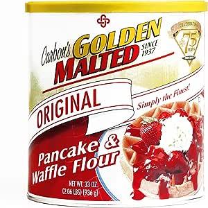 Carbon's Golden Malted Pancake Waffle Flour 33 oz Each (4 Items Per Order, not per case)