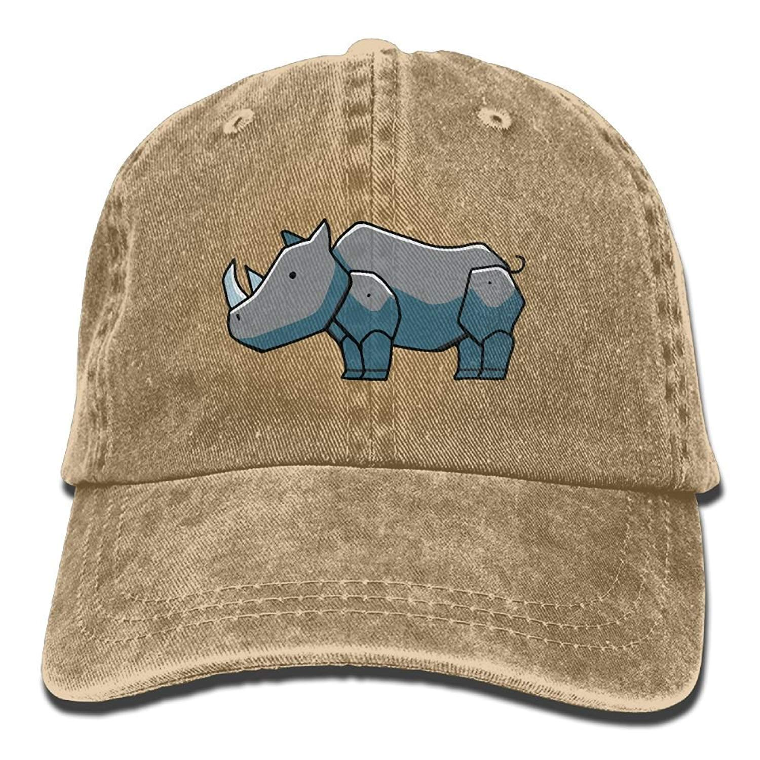 JTRVW Men and Women Rhino Clipart 1 Vintage Jeans Baseball Cap