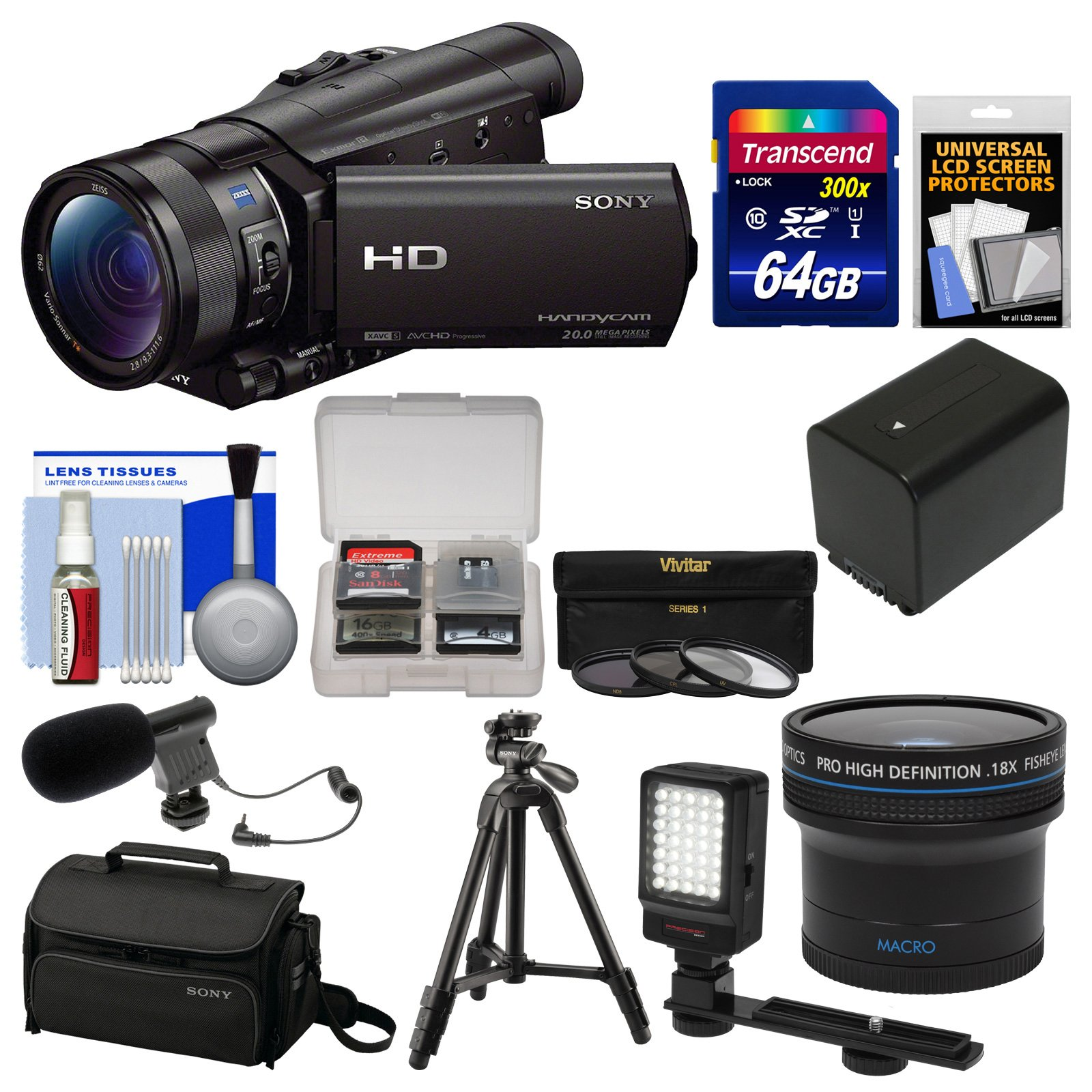 Sony Handycam HDR-CX900 Wi-Fi HD Video Camera Camcorder with Fisheye Lens + 64GB Card + Case + LED Light + Battery + Tripod + Filters Kit