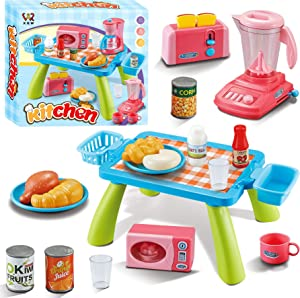XQW 29PCS Kitchen Play Toy with Cookware Playset Water Boiler and Toaster ,Cooking Utensils,Toy Cutlery,Cut Play Food, Learning Gift for Girls Boys Kids
