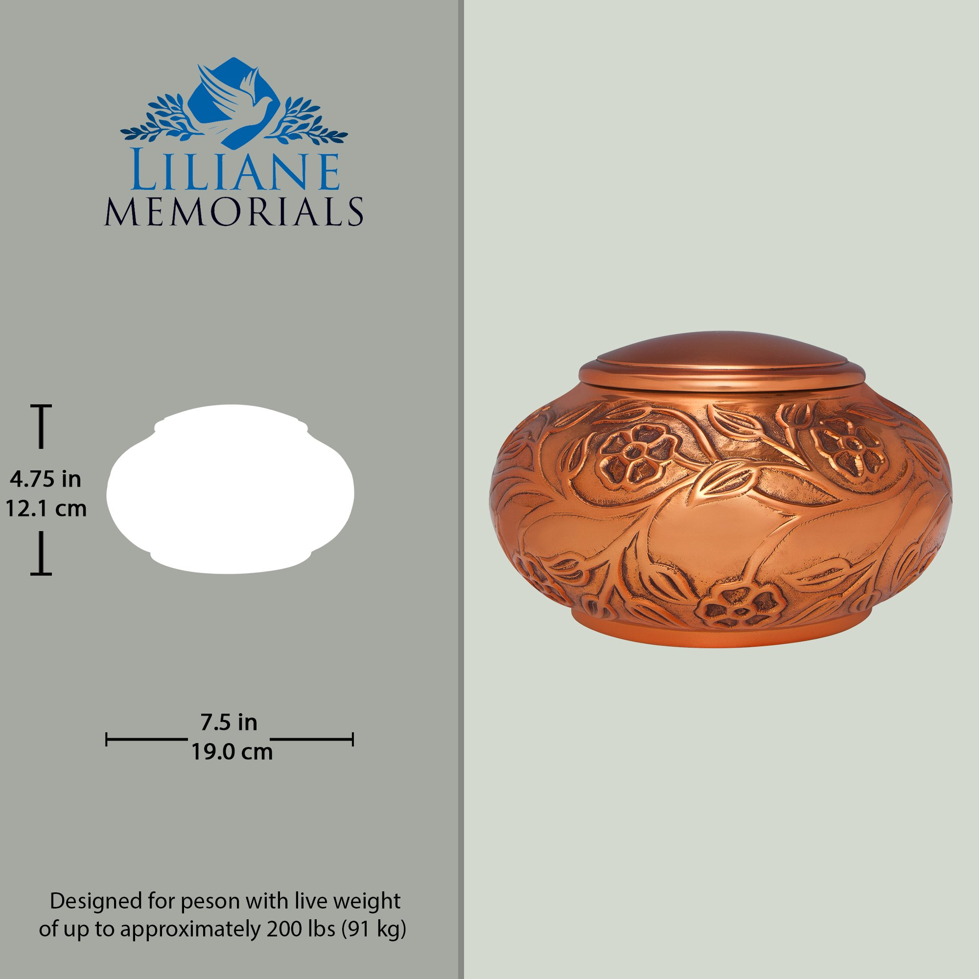 Copper Funeral Urn by Liliane Memorials - Cremation Urn for Human Ashes - Hand Made in Brass - Suitable for Cemetery Burial or Niche - Large Size fits remains of Adults up to 70 lbs by Liliane Memorials (Image #4)