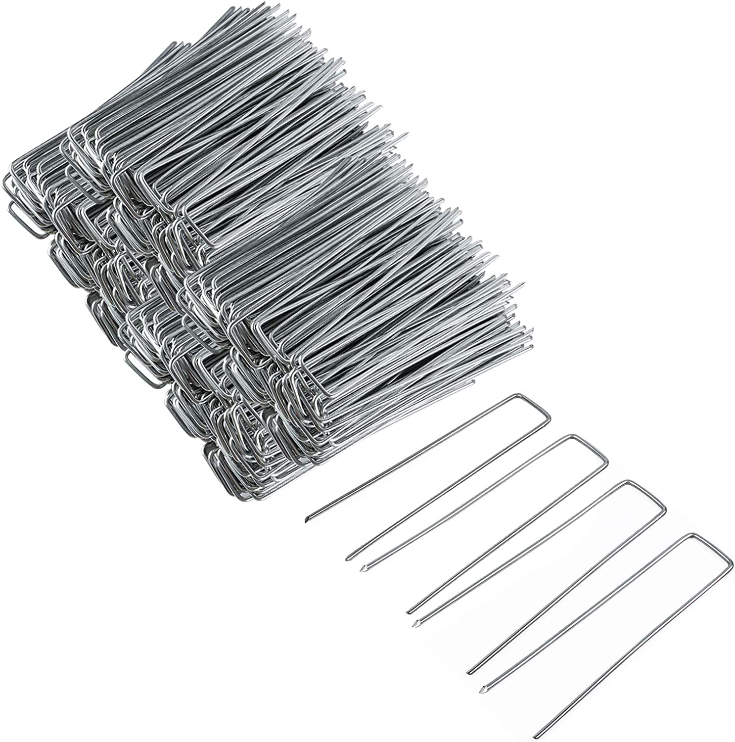 FEED GARDEN 6 Inch Galvanized Garden Stakes 200 Pack Landscape Fabric Staples,Heavy Duty Landscape Pins,for Fixing Edging,Plant Roots,Landscape Fabric Plastic,Electric Wires,Fences, Hoses