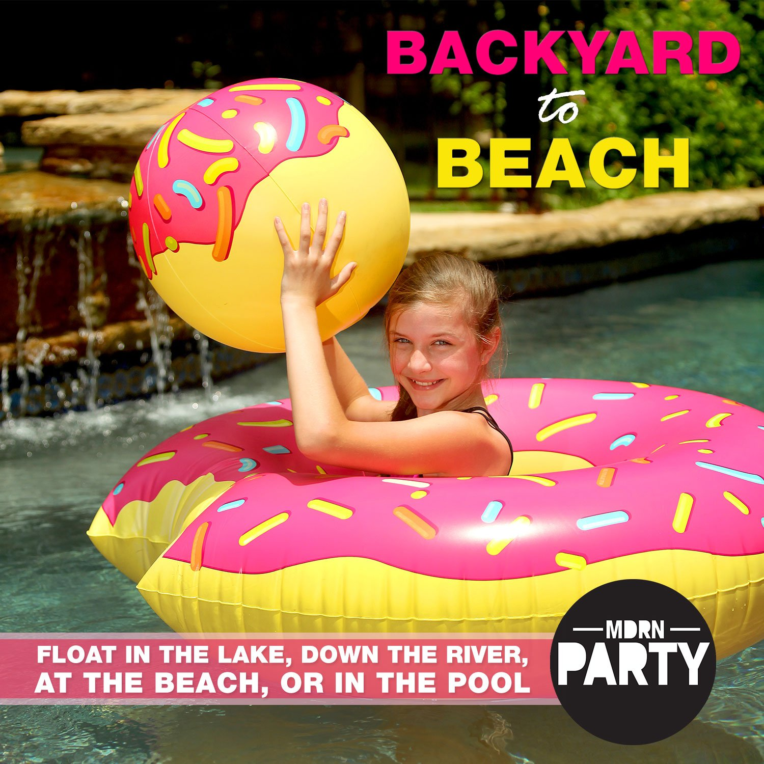 "Amazon MDRN Party 48"" Donut Pool Float with Doughnut Hole"