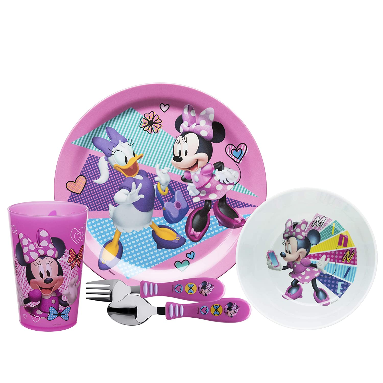 Zak Designs Disney Kids Dinnerware Set Made of Durable Melamine with Fun Character Surface, Include Plate, Bowl, Tumbler and Utensil Tableware is Perfect for Kids (Minnie Mouse, 5 Piece set, BPA Free)