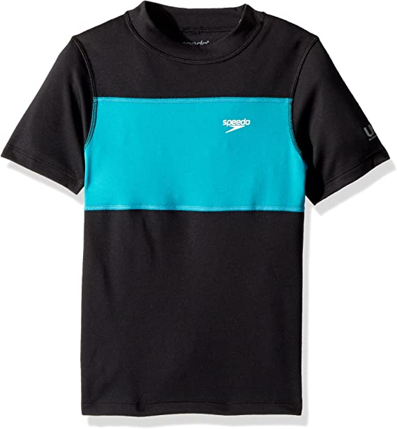 Speedo Short Sleeve Boys Rash Top Black//Blue