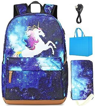 UK Cartoon Galaxy Backpack Laptop Traveling School Bag Rucksack Luminous Stylish