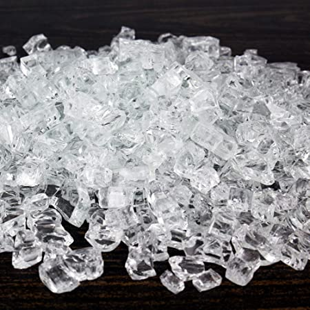 "Clear ~1//4/""-1//2/"" FireGlass Fireplace Fire pit glass rocks"
