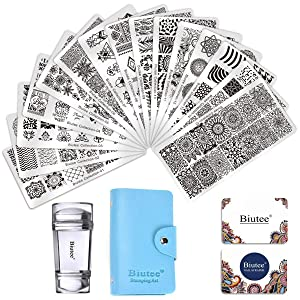 Biutee 19pcs Nail Stamp Plates set 15 plate 1Stamper 2Scraper 1storage bag Nails Art Stamping Plate Scraper Stamper Set Leaves Flowers Animal Nail plate Template Image Plate