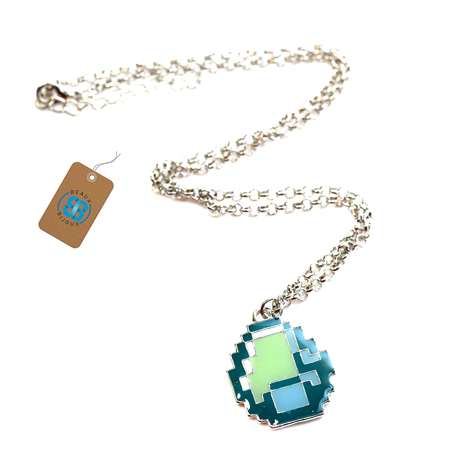 Beautiful minecraft diamond pendant necklace jewellrys website minecraft diamond necklace green pendant video game inspired aloadofball Choice Image