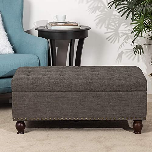 ELEGAN Home Life Lift Top Ottoman Storage Bench Brown Grey