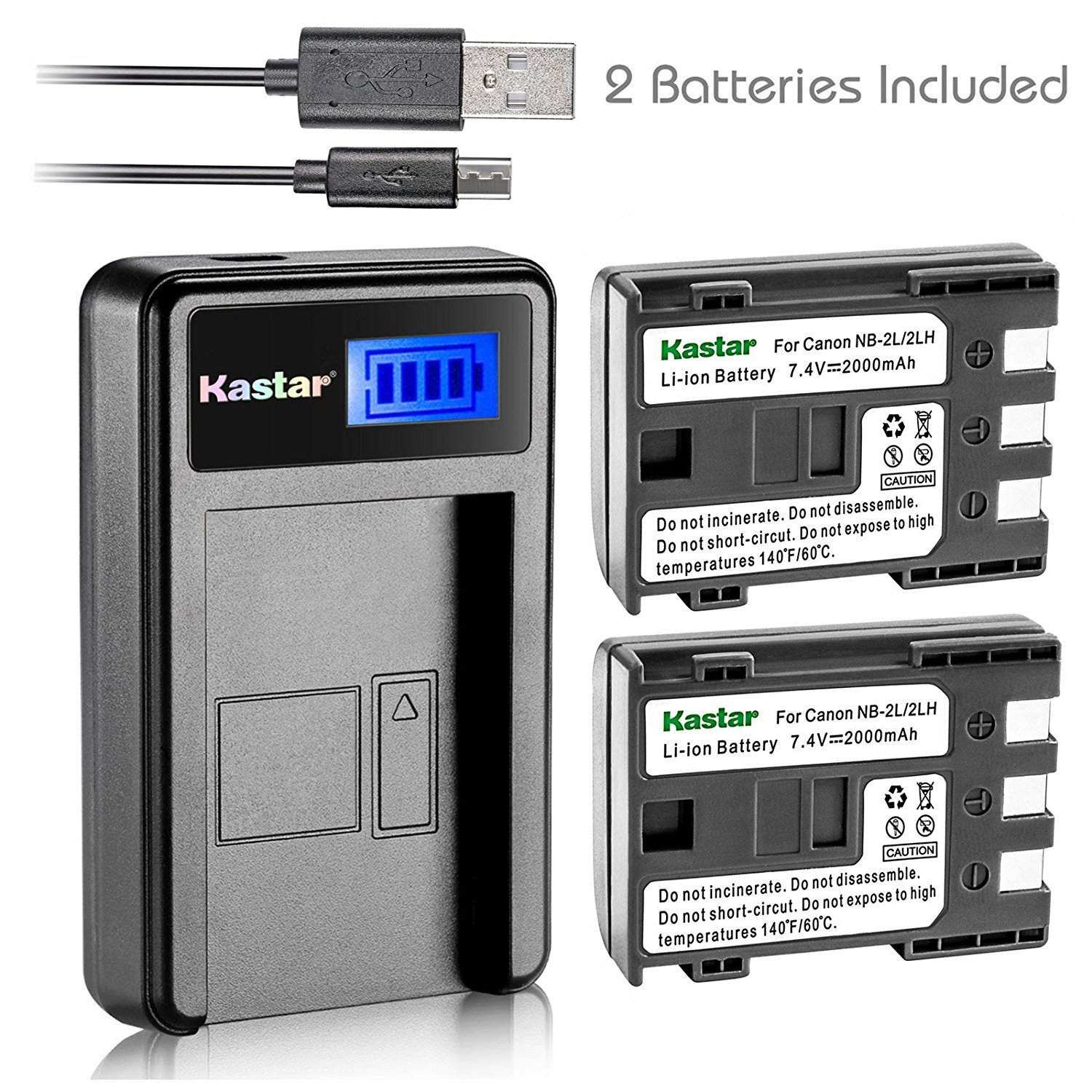 Kastar Battery (X2) & LCD Slim USB Charger for Canon NB-2L NB-2LH NB-2L12 NB-2L14 NB-2L24 BP-2L5 BP-2LH and Canon EOS Digital Rebel XT Xti Cameras