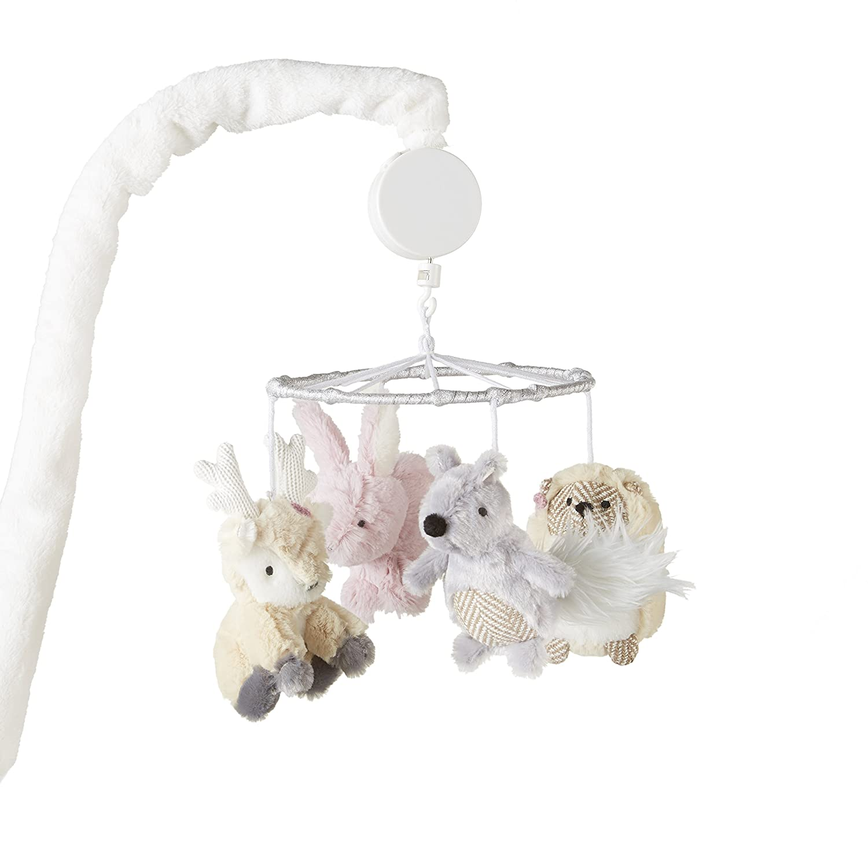 Levtex Baby - Everly Musical Rotating Baby Crib Mobile - Deer, Bunny, Squirrel, Hedgehog - Tan, Pink, Cream, Grey - Nursery Accessories