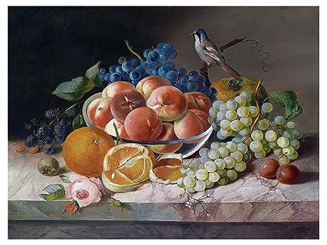 Natura morta con uccello e frutta blackberry pesca arancio e uva