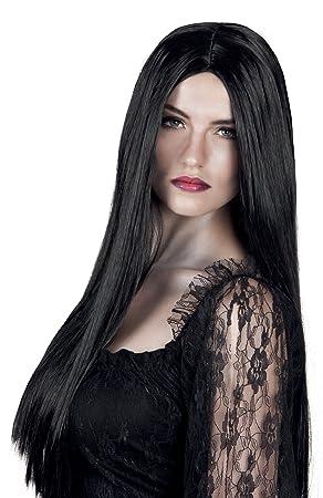 Sanromá - Peluca melena larga lisa negra