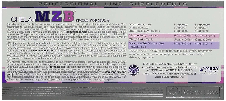 Olimp Sport Nutrition Chela MZB - ZMA Vitaminas y Minerales - 60 Cápsulas: Amazon.es: Salud y cuidado personal