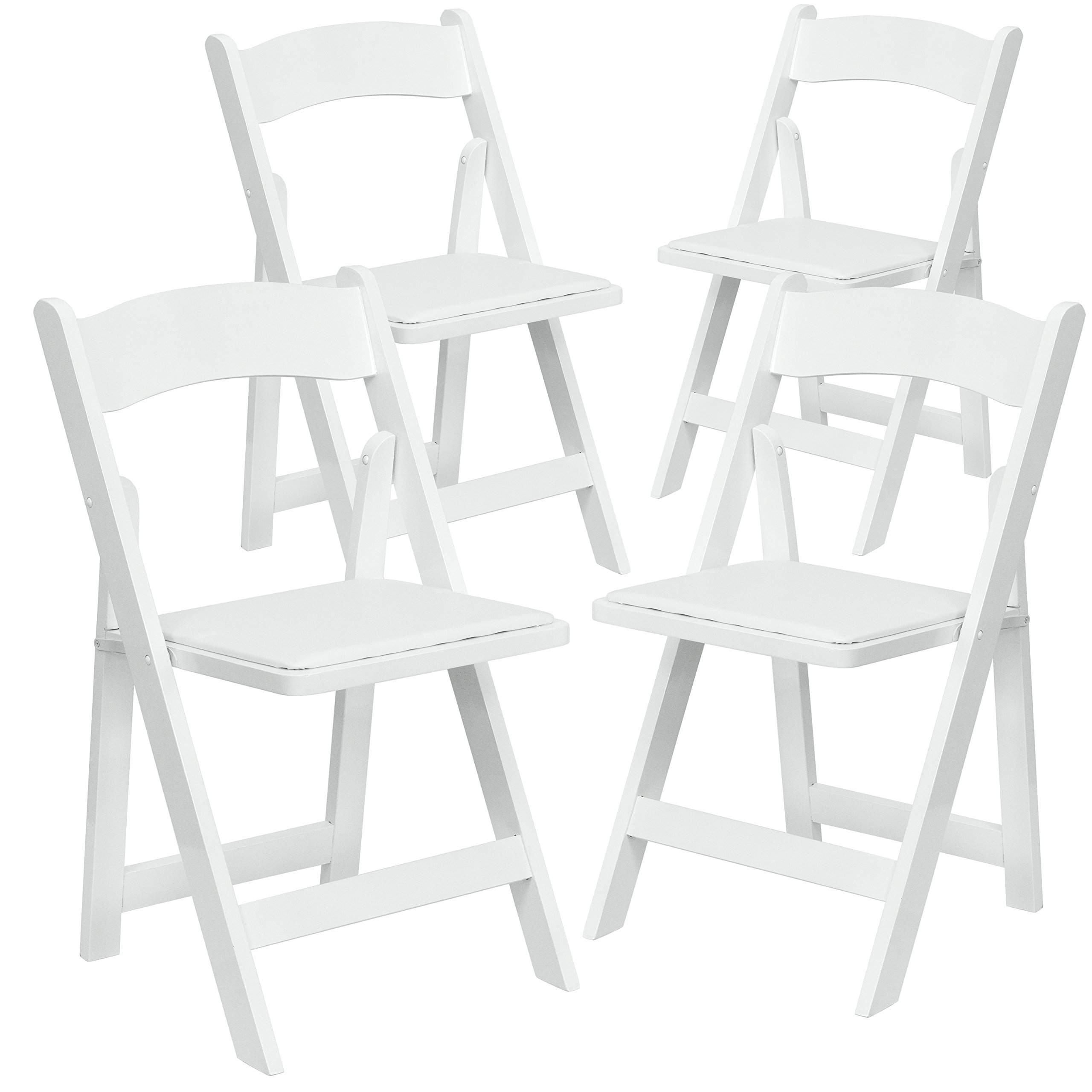 flash furniture 4 pk hercules series white wood folding chair with vinyl padded ebay. Black Bedroom Furniture Sets. Home Design Ideas