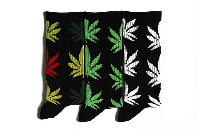 Hoja de Marihuana algodón hombre/mujer de alta calcetines de deporte Calcetines de hojas: Amazon.es: Ropa y accesorios