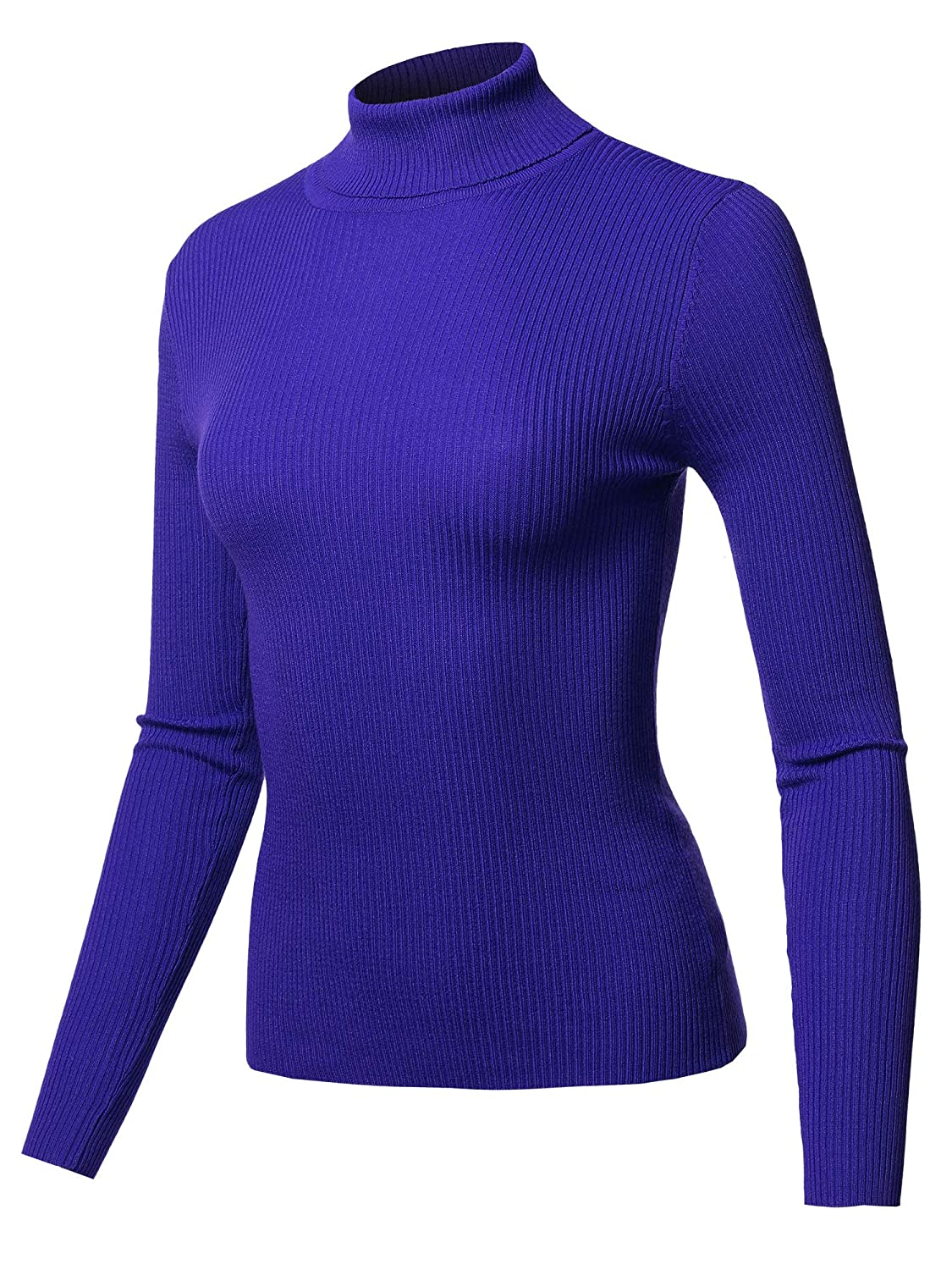 Fewswl0012 Royal Made by Emma Women's Basic Slim Fit Lightweight Ribbed Turtleneck Sweater