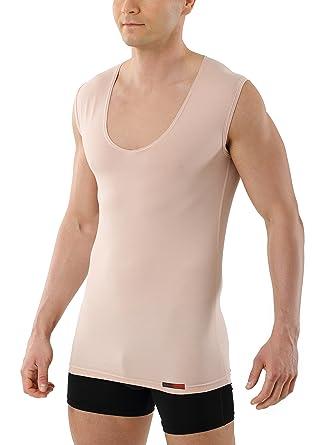 35706e1e7b184f ... Kreuz Deep-V-Unterhemd unsichtbar Business-Unterhemd aus  Stretch-Baumwolle mit extra tiefem V-Ausschnitt ohne Arm Hautfarbe Nude   Amazon.de  Bekleidung