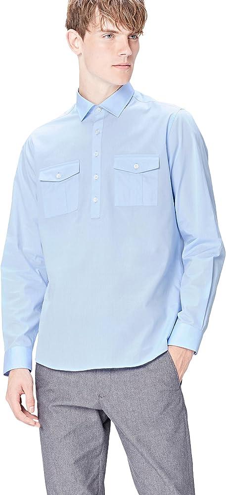 Marca Amazon - find. Camisa Clásica con Bolsillos para Hombre, Azul (Azure), S, Label: S: Amazon.es: Ropa y accesorios
