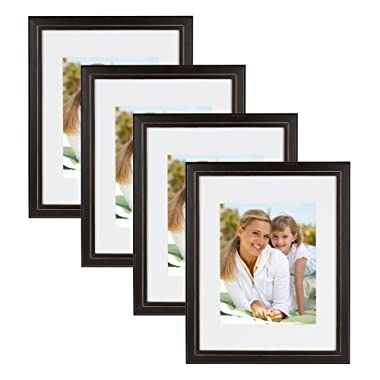 DesignOvation Kieva Solid Wood Picture Framess, Distressed Black 11x14 matted to 8x10, Pack of 4