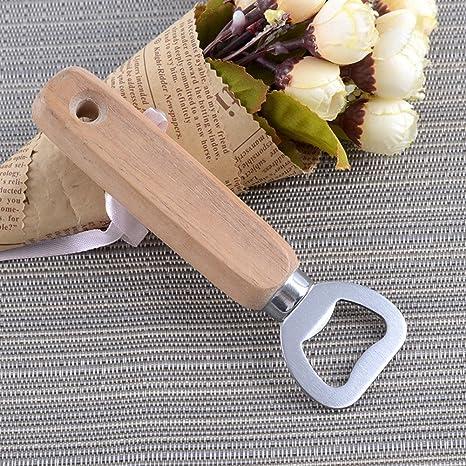 Abridor de botellas QIND con mango de madera, abrebotellas de madera grabado a mano personalizado