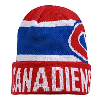 outlet store cfc42 527e1 ... promo code for nhl montreal canadiens mens nero cuffed knit hat one  size red white c8046