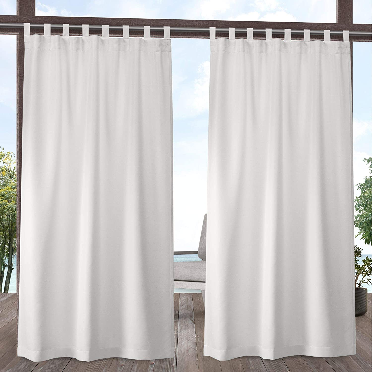 Exclusive Home Curtains Indoor/Outdoor Solid Cabana Tab Top Curtain Panel Pair, 54x84, Vanilla