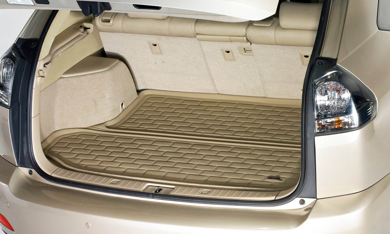 3D MAXpider Cargo Custom Fit All-Weather Floor Mat for Select Hyundai Santa Fe Sport Models Tan Kagu Rubber