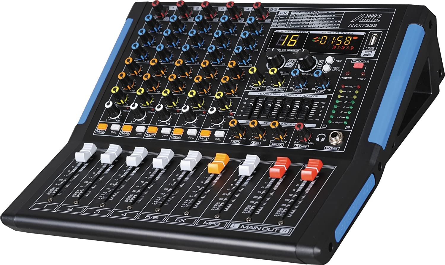 Professional Six-Channel Audio Mixer with USB Interface, Bluetooth, and DSP Sound Effects H & F Technologies Inc. AMX7332